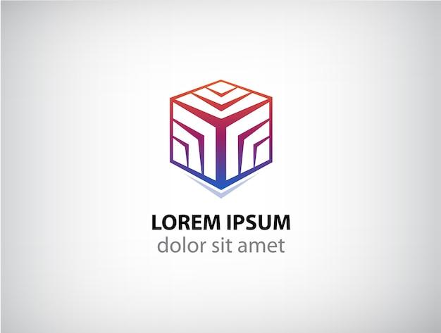 Logo cubo moderno astratto isolato
