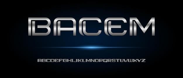 Fonte di alfabeto futuristico moderno astratto. caratteri tipografici in stile urbano per tecnologia, digitale, film, design del logo