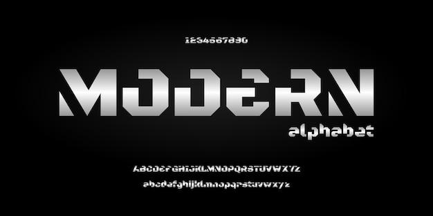 Stile urbano di tipografia di carattere alfabeto futuristico moderno astratto per la progettazione di logo di film digitale di tecnologia