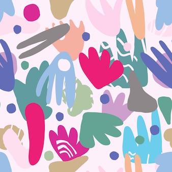 Forme o macchie moderne astratte di colori verdi. modello senza cuciture contemporaneo. concetto di design tessile alla moda in tessuto su sfondo bianco