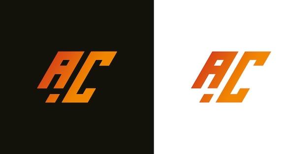 Lettera iniziale moderna astratta ac ac segno logo design template