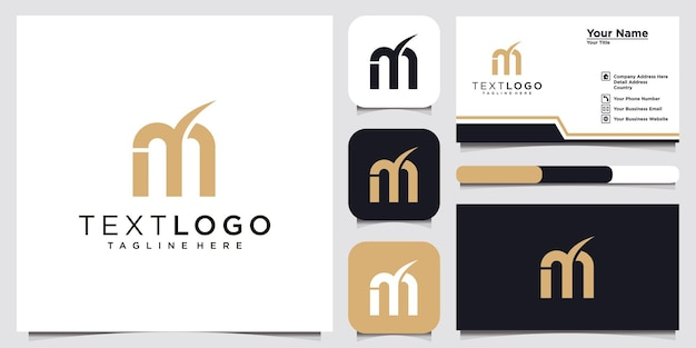 Lettera iniziale moderna astratta m segno modello di progettazione logo di lusso e biglietto da visita