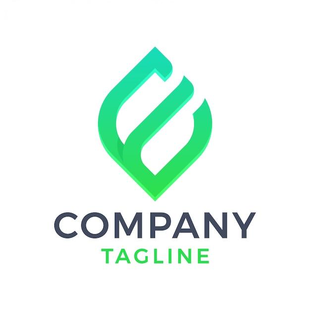 Logo moderno astratto di pendenza della lettera e della foglia