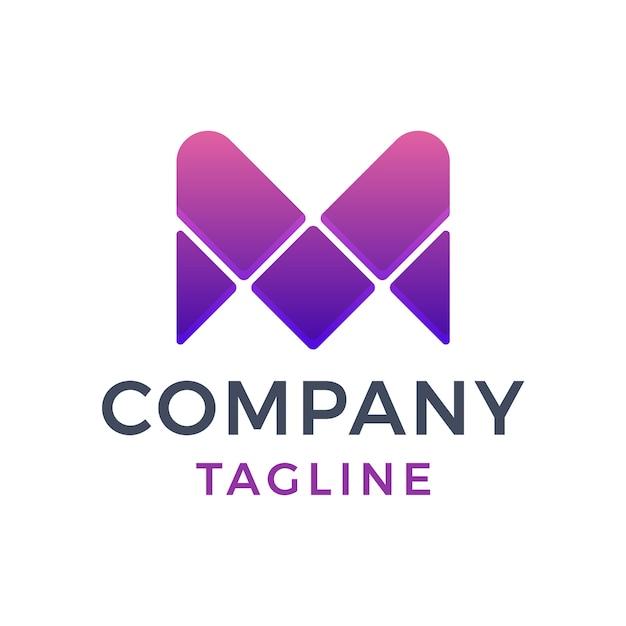 Lettera moderna astratta mv viola gradiente logo design