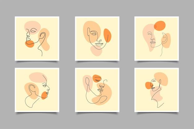 Linea arte astratta moderna per post sui social media