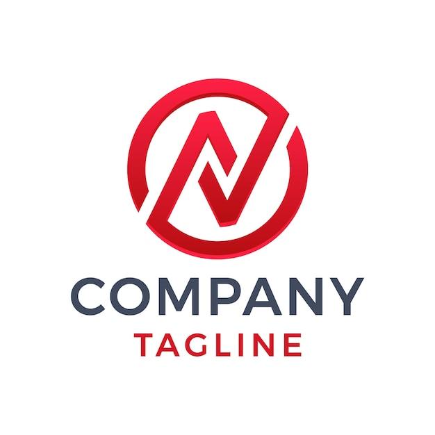 Lettera moderna astratta del monogramma navo controlla su e giù il disegno geometrico del logo a gradiente rosso monoline grafico a freccia