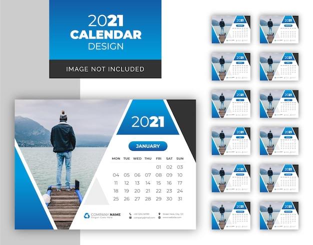 Modello di disegno del calendario da tavolo moderno astratto del nuovo anno 2021