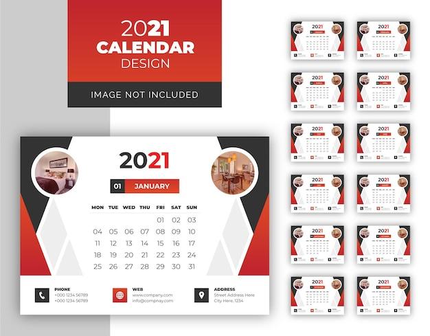 Modello di disegno del calendario da tavolo moderno astratto del nuovo anno per agenzia immobiliare