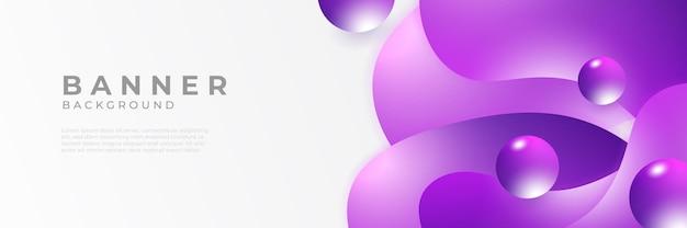 Sfondi di modello di progettazione banner web orizzontale viola moderno astratto
