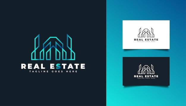 Logo astratto e moderno del bene immobile nel gradiente blu. logo di costruzione, architettura, edificio o casa