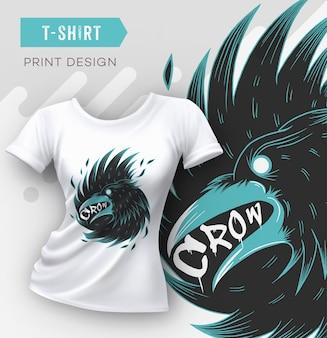 Design moderno astratto con stampa t-shirt con corvo.