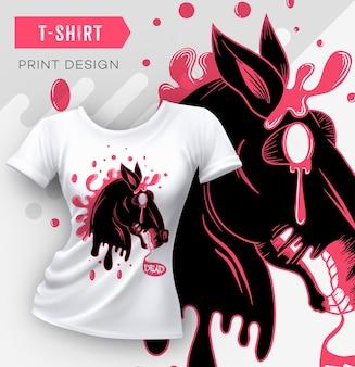 Design moderno astratto con stampa t-shirt con cavallo morto. illustrazione vettoriale.
