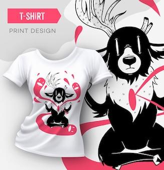 Design moderno astratto di stampa t-shirt con modello di cervo