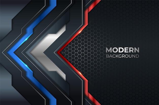 Tecnologia moderna astratta blu metallizzato lucido e rosso con sfondo scuro esagonale