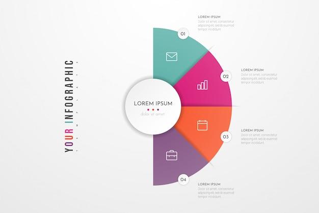 Modello moderno astratto per la creazione di infografica con quattro opzioni. grafico circolare. può essere utilizzato per layout del flusso di lavoro, presentazioni, report, visualizzazioni, diagramma, web design, formazione.