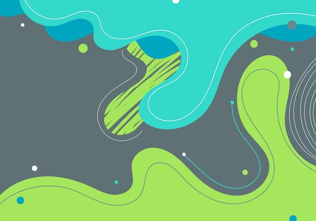 Modello moderno astratto verde e blu organico forme dinamiche elementi composizioni di macchie colorate e linee su sfondo grigio. illustrazione vettoriale