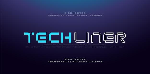 Alfabeto di carattere astratto moderno sottile linea. numeri e caratteri digitali al neon di tecnologia.