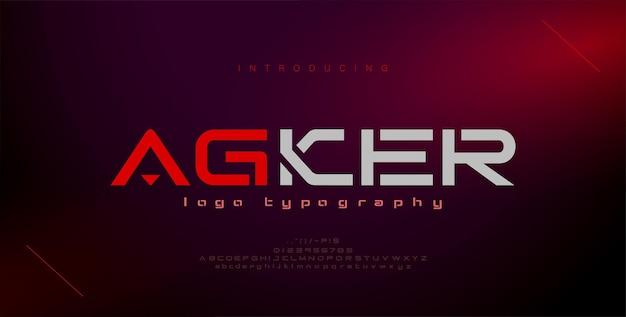 Font alfabeto urbano moderno astratto tipografia sport gioco tecnologia futuro logo digitale font