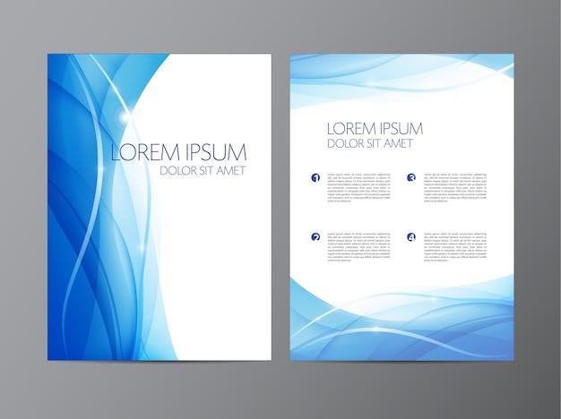 Volantino blu fluente ondulato moderno astratto, brochure