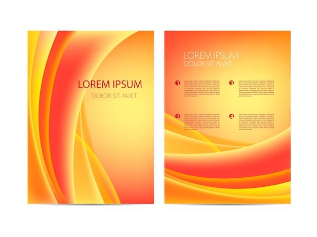 Astratto moderno ondulato arancione che scorre volantino, brochure