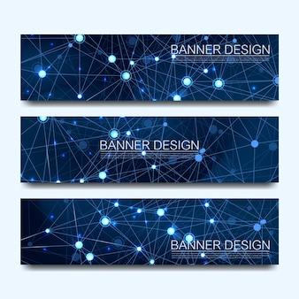 Bandiere di molecole astratte con linee, punti, cerchi, poligoni, banner di comunicazione di rete di design. futuristico concetto di tecnologia della scienza digitale per banner web