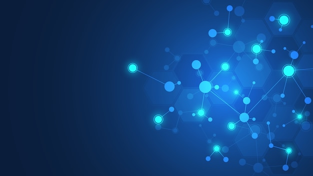 Molecole astratte su sfondo blu scuro. strutture molecolari o filamento di dna, rete neurale, ingegneria genetica. concetto scientifico e tecnologico.