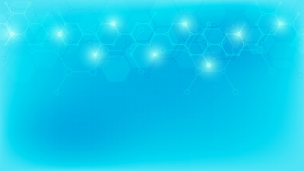 Molecole astratte su sfondo blu morbido. strutture molecolari o ingegneria chimica, ricerca genetica, innovazione tecnologica. concetto scientifico, tecnico o medico.