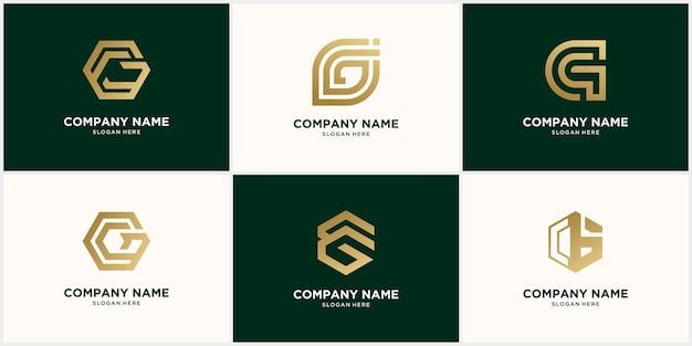 Insieme astratto di disegno della lettera g logo monogramma, in colore oro