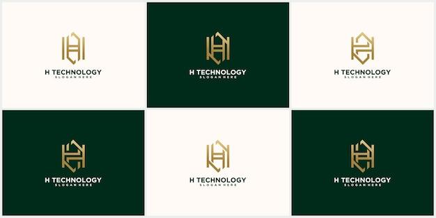 Disegno astratto della lettera h del logo monogramma impostato in colore oro