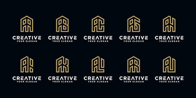 Logo monogramma astratto lettera a ed ecc collezione logo dorato di affari