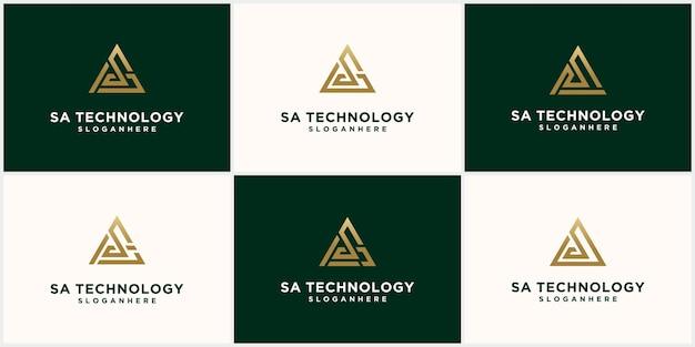 Logo monogramma astratto disegno della lettera sa sas impostato in colore oro