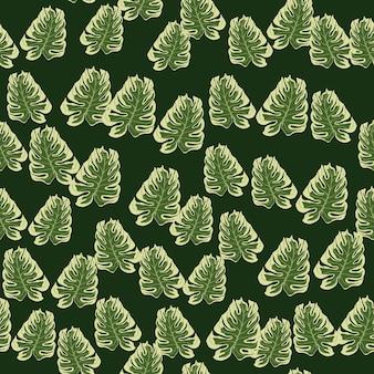 Reticolo senza giunte di doodle di foglie di palma monstera astratta. sfondo verde tropicale.