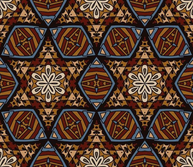 Mosaico astratto tessere d'epoca etnico senza cuciture modello ornamentale