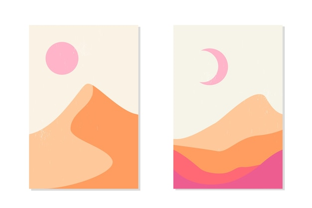 Paesaggio di montagna astratto e deserto con dune di sabbia, sole e luna.