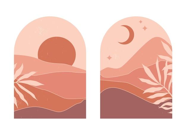 Paesaggi di montagna astratti in archi al tramonto con sole e luna in un'estetica