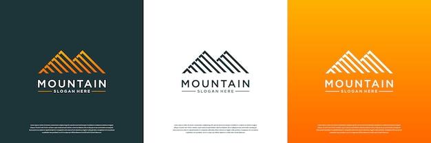 Modello di progettazione di logo di montagna astratta.