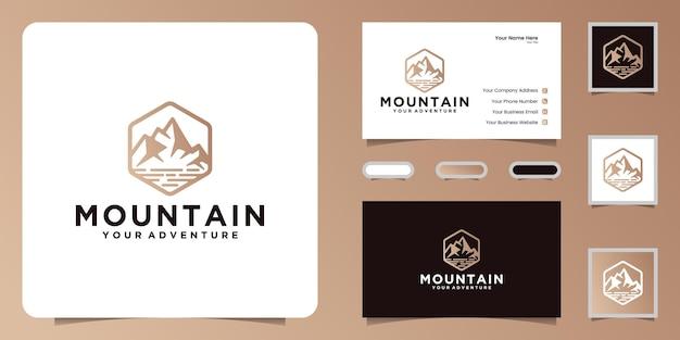 Logo e biglietto da visita di design di ispirazione astratta per la montagna e il fiume