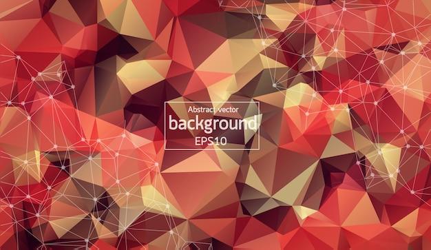 Astratto multi spazio poligonale rosso con punti e linee di collegamento.