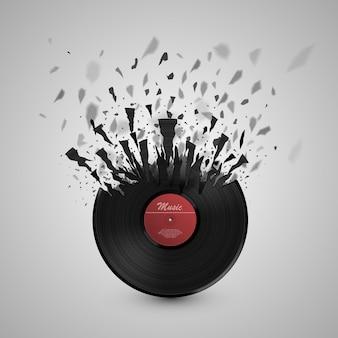 Musica di sottofondo astratta. esplosione del disco in vinile. illustrazione vettoriale