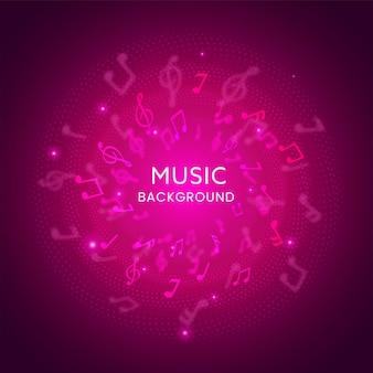 Sfondo astratto di note musicali con effetto di luci rosa.