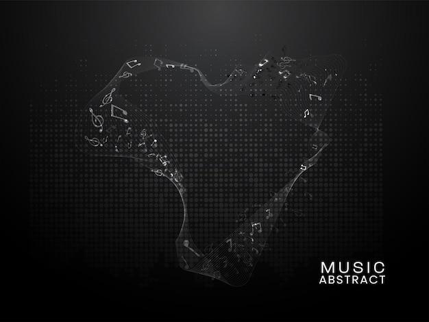 Note di musica astratta con linee ondulate su sfondo nero mezzitoni.