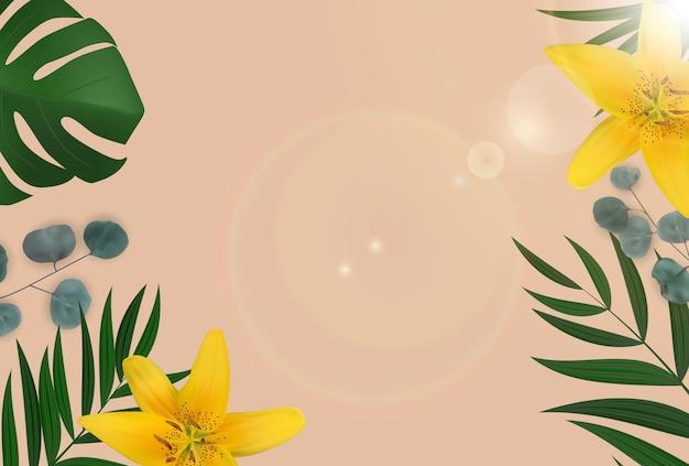 Sfondo naturale astratto con palme tropicali, foglie di eucalipto e fiore lilly