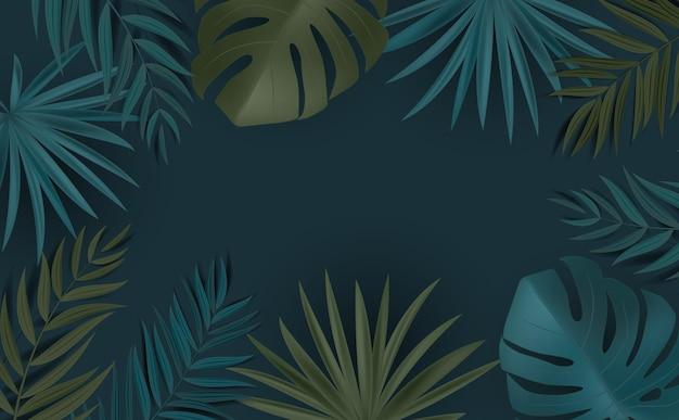 Astratto sfondo naturale con palme tropicali e foglie di monstera