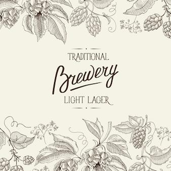Manifesto di luce botanica naturale astratto con iscrizione calligrafica e piante di erbe del luppolo della birra in stile vintage