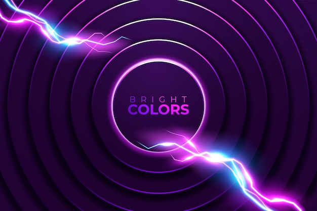 Neon astratto. cornice rotonda lucida con effetto luce a cerchi di luce.