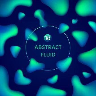 Astratto neon verde blu colore 3d liquido forma fluida su sfondo blu scuro con spazio di copia
