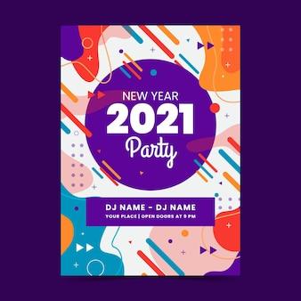 Modello astratto di volantino festa di nuovo anno 2021