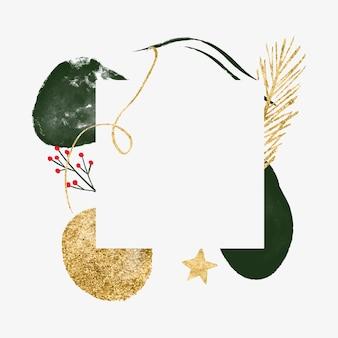 Striscione minimalista astratto per il nuovo anno con biglietto di auguri di natale con ramo di abete a forma organica d'oro