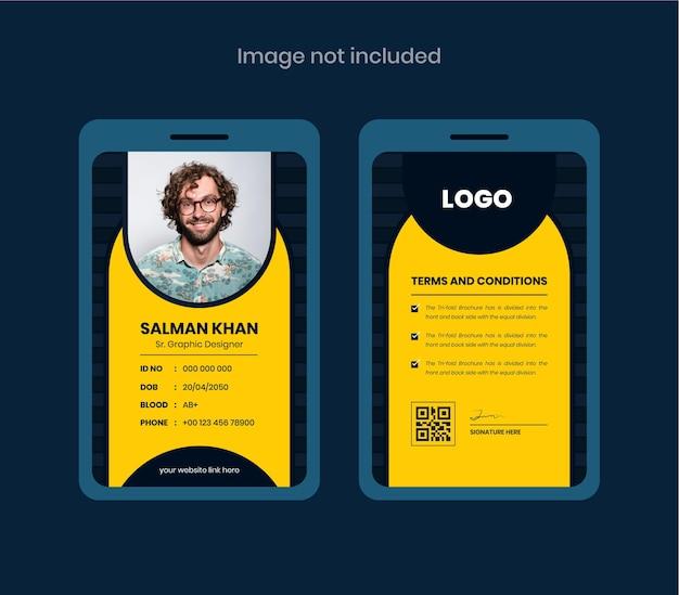 Carta d'identità per ufficio astratta carte d'identità fronte e retro dal design colorato e creativo per cose aziendali