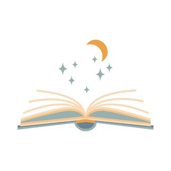 Libro magico aperto astratto con la stella, luna isolata su fondo bianco. illustrazione vettoriale di boho. simboli misteriosi. design per compleanni, feste, stampe di abbigliamento, biglietti di auguri.